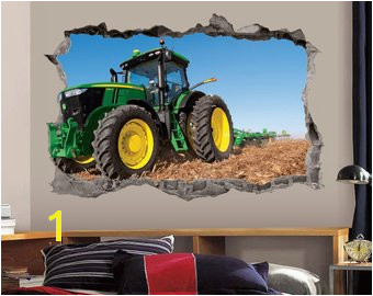 Green Tractor Wall Decal 3D Art Stickers John Deere Vinyl Wall Decor