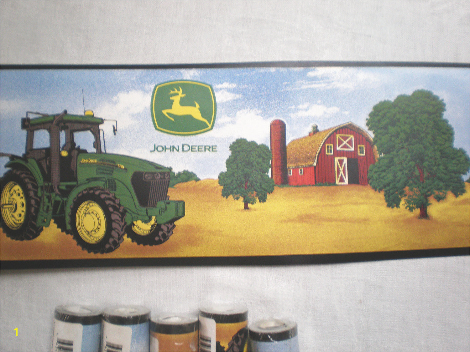 Rolls John Deere Tractor Wallpaper Border by TextilesandThings 1500x1125