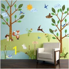My Wonderful Walls Forest Multi Peel and Stick Removable Wall Decals Woodland Critters Theme Wall Mural 83 Piece Jumbo Set