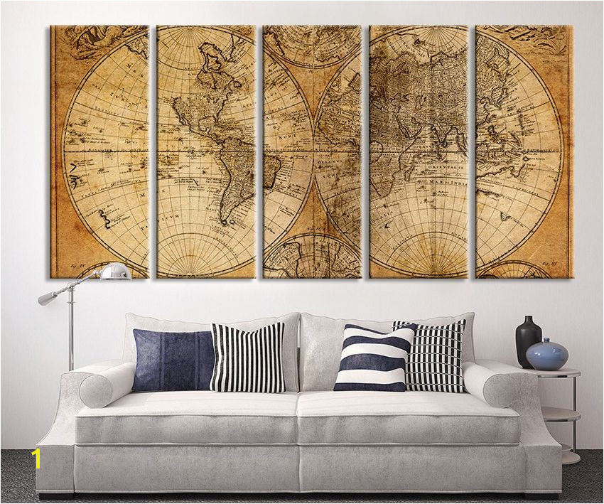 Oversized Canvas Art Prints Vintage World Map Canvas Print X Art Vintage World Map Extra Brawn Old World Map Print