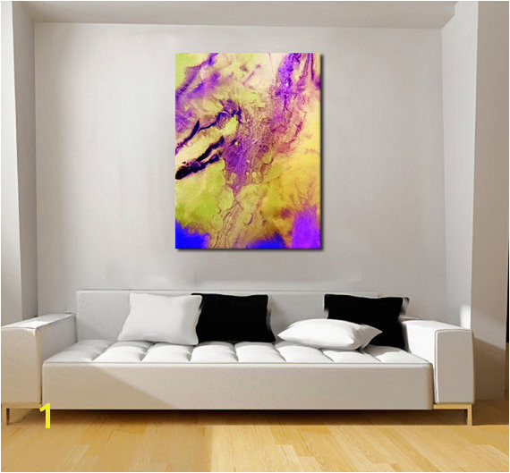 Oversized Print Metal Wall Art Industrial Decor Extra Wall Art Purple Abstract Resin Art
