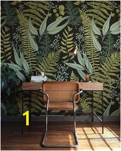 Botanical Wallpaper Ferns Wallpaper Wall Mural Green Home Décor Herbal Decorations Easy instal Wall Decal Removable Wallpaper B008
