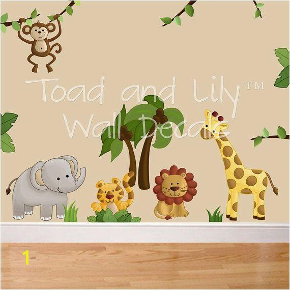 Jungle Mural for Nursery Fabric Wall Decals Jungle Animal Safari Girls Boys Bedroom Playroom
