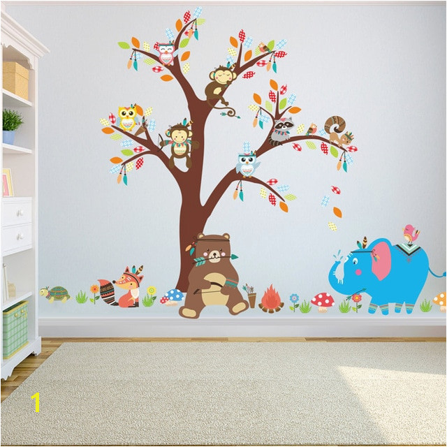 Jungle Mural for Nursery Jungle Animals Bear Owl Elephant Tree Wall Sticker for Kids Baby