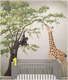 Elmhurst artist Debbie Cerone painted an adorable Safari Themed mural in nursery in Chicago home The room and furniture are done in soft gray