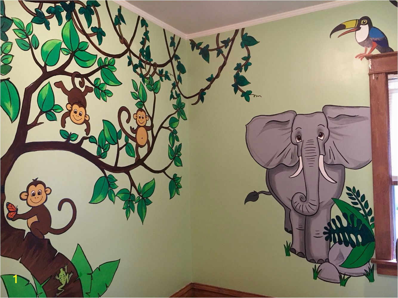 Monkeys elephant kids jungle themed room wall murals painting kids room nursery