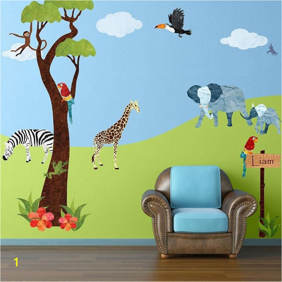45 large jungle themed fabric wall stickers make a jungle safari mural for your baby nursery or kids room in minutes repositionable and reusable layerable