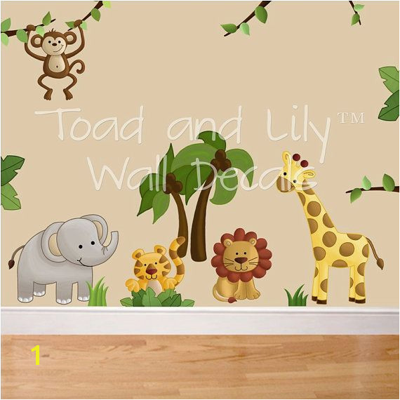 Jungle Safari Wall Murals Fabric Wall Decals Jungle Animal Safari Girls Boys Bedroom Playroom