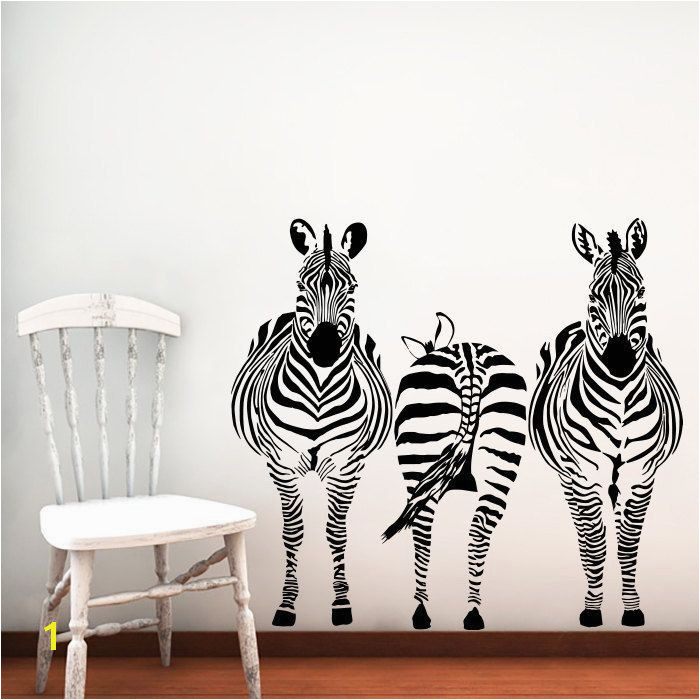 Jungle Safari Wall Murals Zebras Vinyl Sticker Wall Art 22 Inches X 35 Inches Black