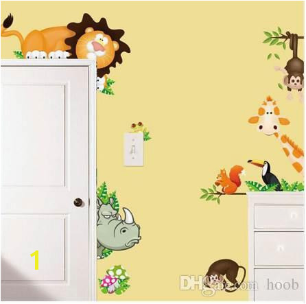 Jungle Animal Kids Baby Nursery Wall Stickers Poster Children Home Decor PVC Mural Cartoon Wall Decal Adesivo De Parede Infantil Stickers Decor Stickers For