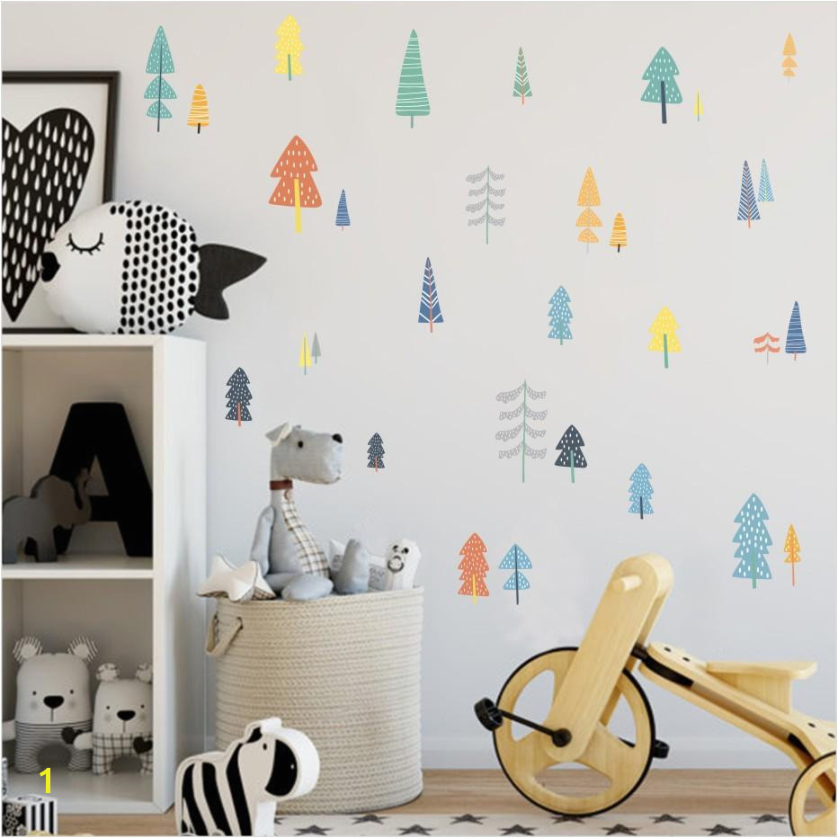 Nordic Style Forest Tree Color Wall Decals Woodland Tree Vinyl Art Wall Stickers For Kids Room Decoration Modern Decor Big Wall Decals Big Wall Stickers