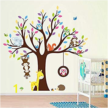 ElecMotive Cartoon Forest Animal Monkey Owls Fox Rabbits Hedgehog Tree Swing Nursery Wall Stickers Wall Murals