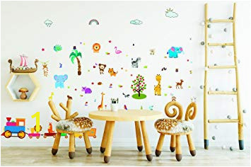 Forest Animals Wall Stickers and Decals for Boys and Girls Rooms Jungle Peel and Stick