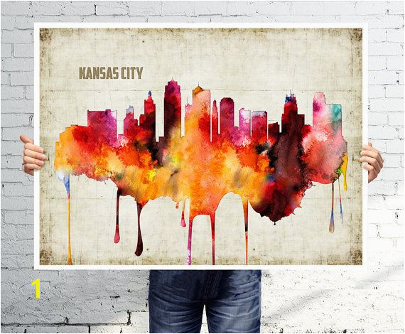 KANSAS CITY Art print poster Skyline watercolor wall art abstract painting