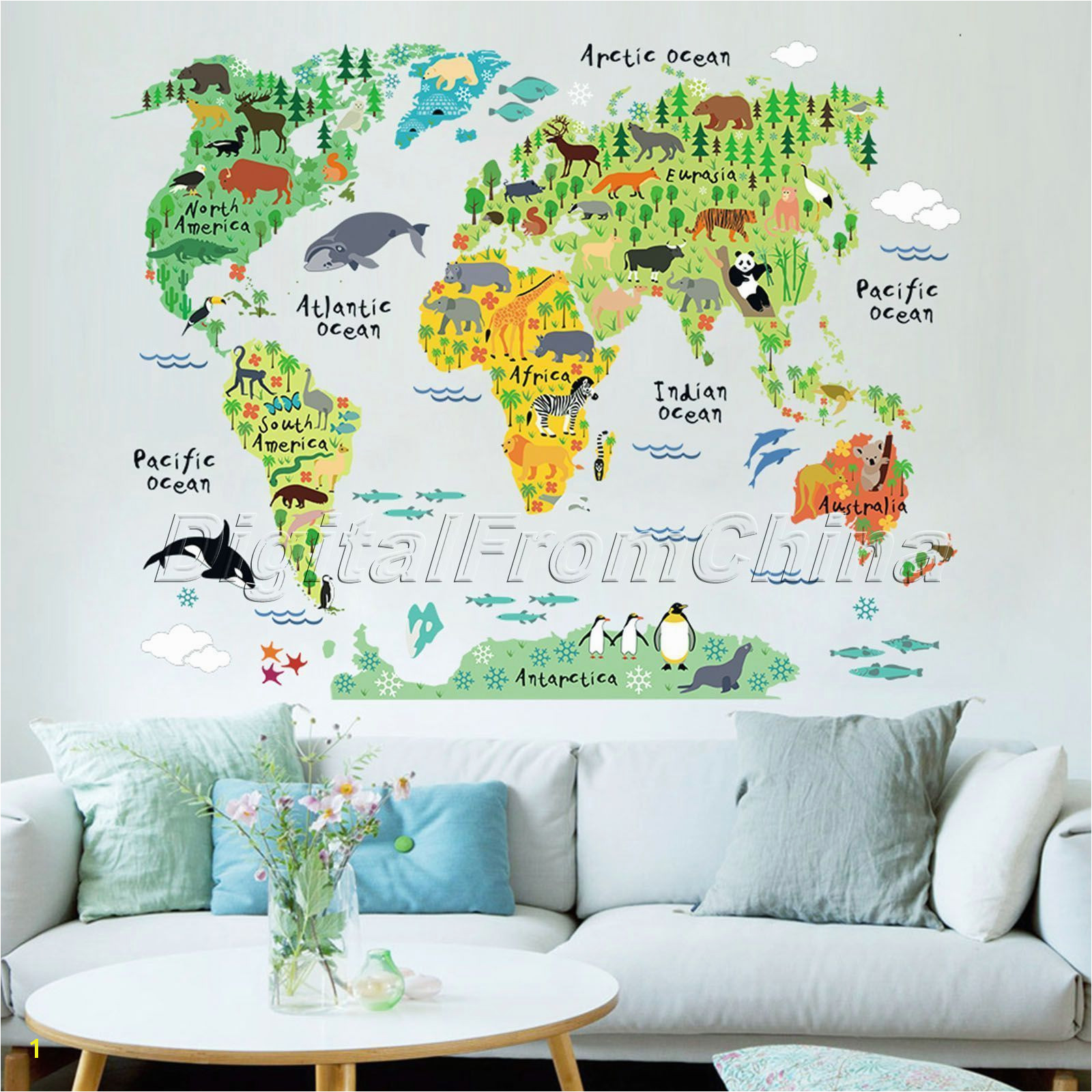 Colorful Animal World Map Wall Sticker Vinyl Decal Nursery Kids Room Home Decor