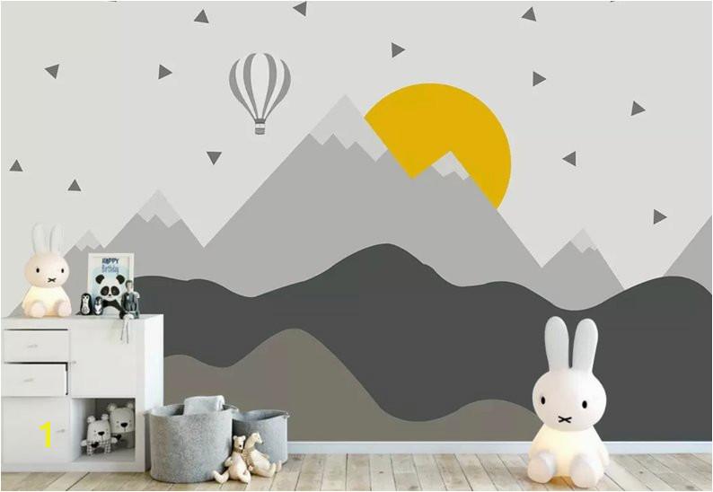 Kids Wall Murals Australia Kids Mountain Wallpaper Nursery Hot Air Balloon Wall Murals