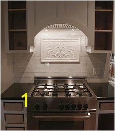 Gloss white backsplash mural Andersen Ceramics · Relief kitchen tile