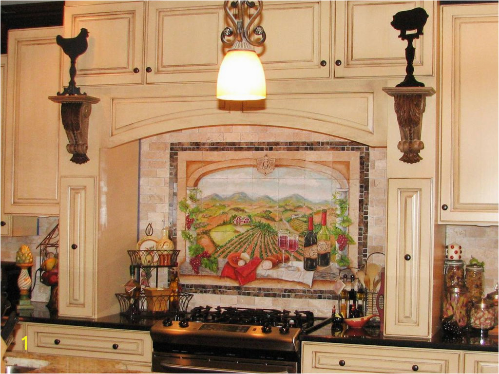 Backsplash Murals Hand painted kitchen backsplash tile