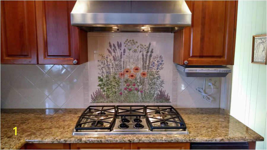 Hand Painted Tile Backsplash Flowers