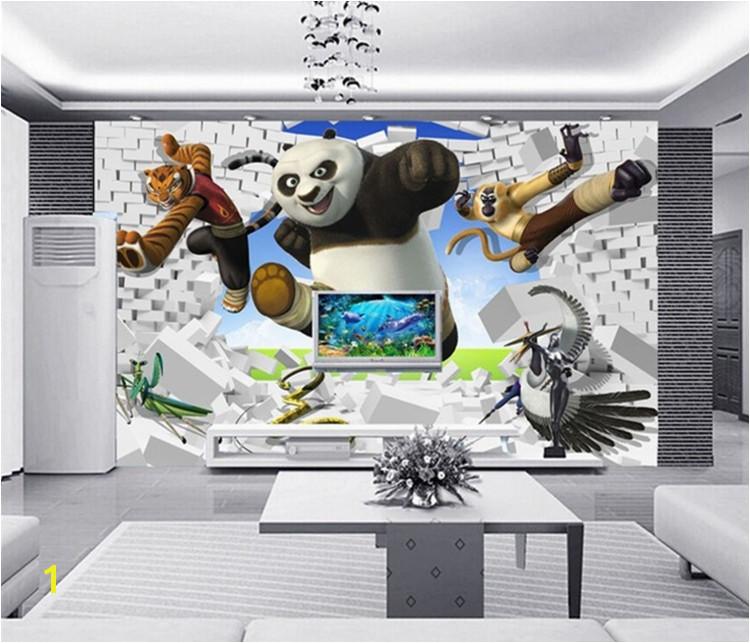 Stereoskopowe 3d tapety kung fu panda tygrys tv sypialnia sofa tło tapeta dzieci pokoju tapety ścienne nowoczesne w Stereoskopowe 3d tapety kung fu panda