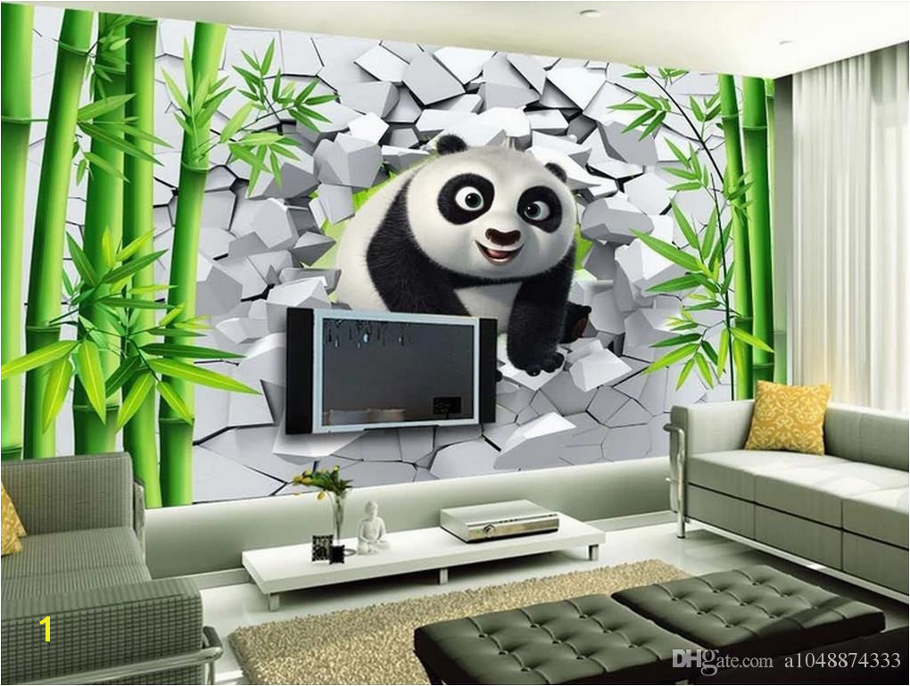 Wholesale Custom 3d Wallpaper For Walls 3d Wallpaper Murals 3D Hole Wall Cute Panda Bamboo TV Background Wall Painting Wall Home Decor Wallpaper