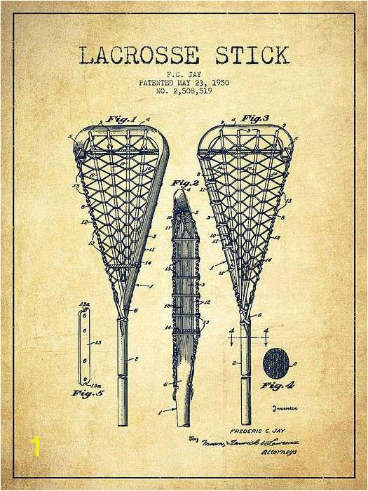 Lacrosse Stick Patent From 1950 Vintage Print By Aged Pixel