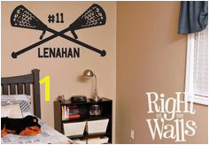 "Lacrosse Wall Decal 30"" Lacrosse Wall Decor Sports Wall Decal Personalized Lacrosse Sticker"