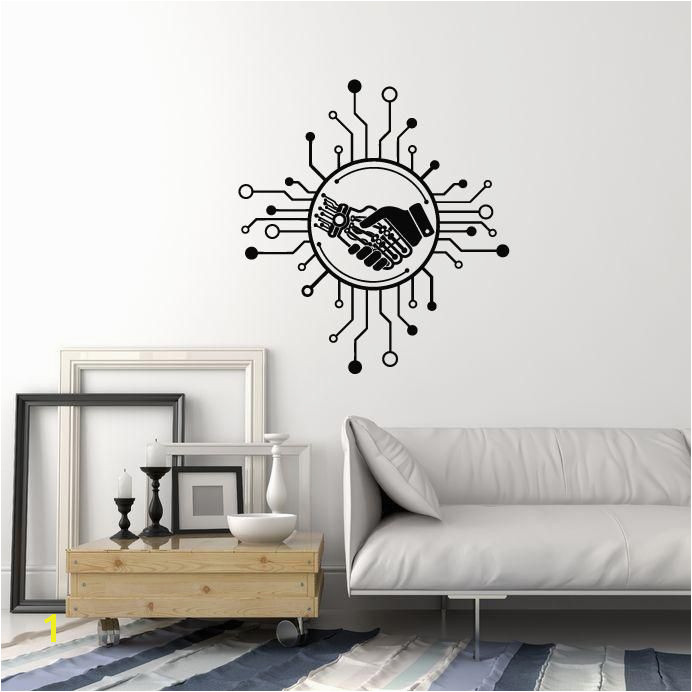Vinyl Wall Decal Robot Human Hand AI puter Chip Technology Stickers Mural ig5375