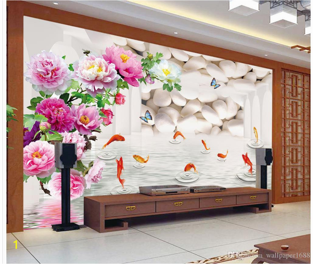 3d Wallpaper Mural Decor Backdrop The Peony Nine Fish Figure 3 D TV Setting Wall Space Hd Wallpaper I Hd Wallpaper From Wallpaper1688
