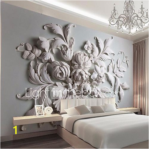 JAMMORY Embossed White Flower Decoratio 3D Fashion Wallpaper Personality Wallpaper Mural Wall Covering Canvas Material Golden ChurchXL XXL XXXL 2017