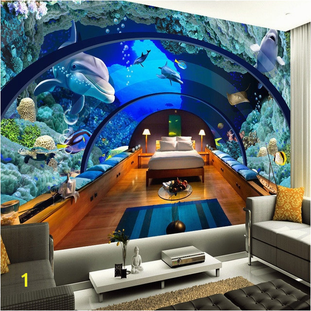 Custom 3D Poster Wallpaper Marine Museum Underwater World 3D Living Room Bedroom Backdrop Wall Mural