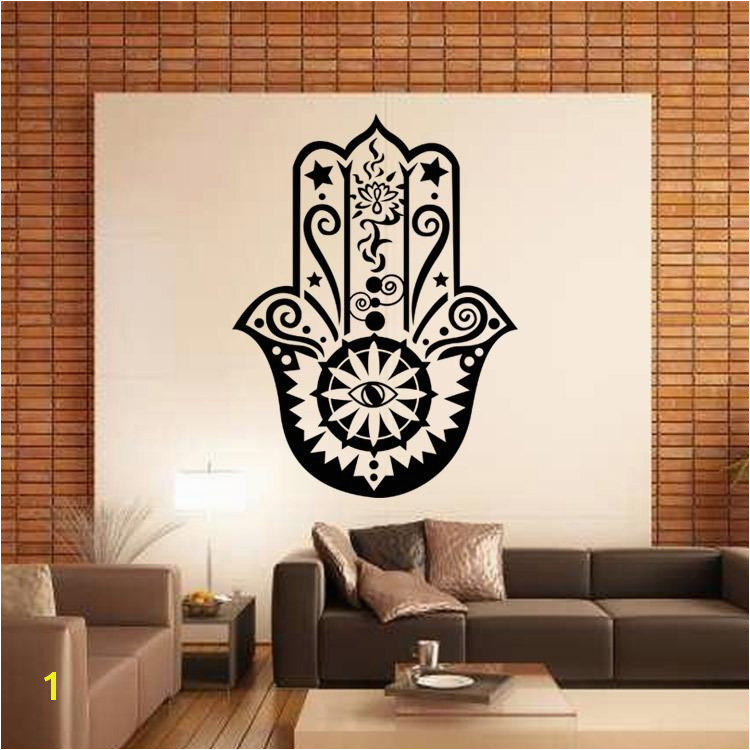 Art Design Hamsa Hand Wall Decal Vinyl Fatima Yoga Vibes Sticker Fish Eye Decals Indian Buddha Home Decor Lotus Pattern Mural Stickers For Walls In Bedrooms