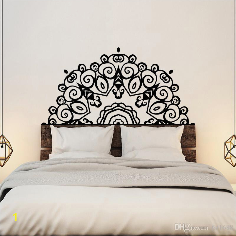 Headboard Wall Sticker Wall Mural Bed Bedside Mandala Vinyl Decals Kids Room Bedroom Giant Headboard Flower Home Decor Wall Stickers For Adults Wall