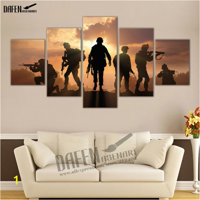 Military Sol rs Silhouettes 5 Piece Canvas Print Wall Art Painting for Living Room Framed Ready to Hang