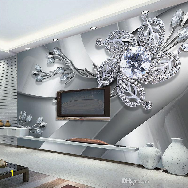 Custom Any Size 3D Wall Mural Wallpaper Diamond Flower Patterns Background Modern Art Wall Painting Living Room Home Decor Canada 2019 From