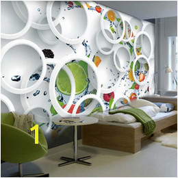 Custom Mural Wallpaper Modern Abstract Art 3D Stereoscopic White Circle Fruits Wall Painting Restaurant Kitchen Wallpaper fruit wall murals on sale