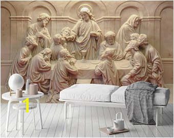 3D Embossed Cement Wallpaper Religious Sculpture Wall Mural Last Supper Wall Print Me val Home Decor Entryway