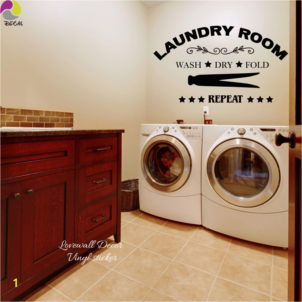 Laundry Room Wall Sticker Wash Dry Fold Repeat Laundry Room Lettering Wall Decal Laundry Room Decor Vinyl Wall Art Room Sign in Wall Stickers from Home
