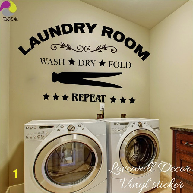 Laundry Room Wall Sticker Wash Dry Fold Repeat Laundry Room Lettering Wall Decal Laundry Room Decor Vinyl Wall Art Room Sign
