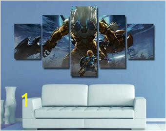 Zelda Wall art Zelda poster Breath of the wild canvas home decor 5 pieces multi panel kids room bedroom giclee framed