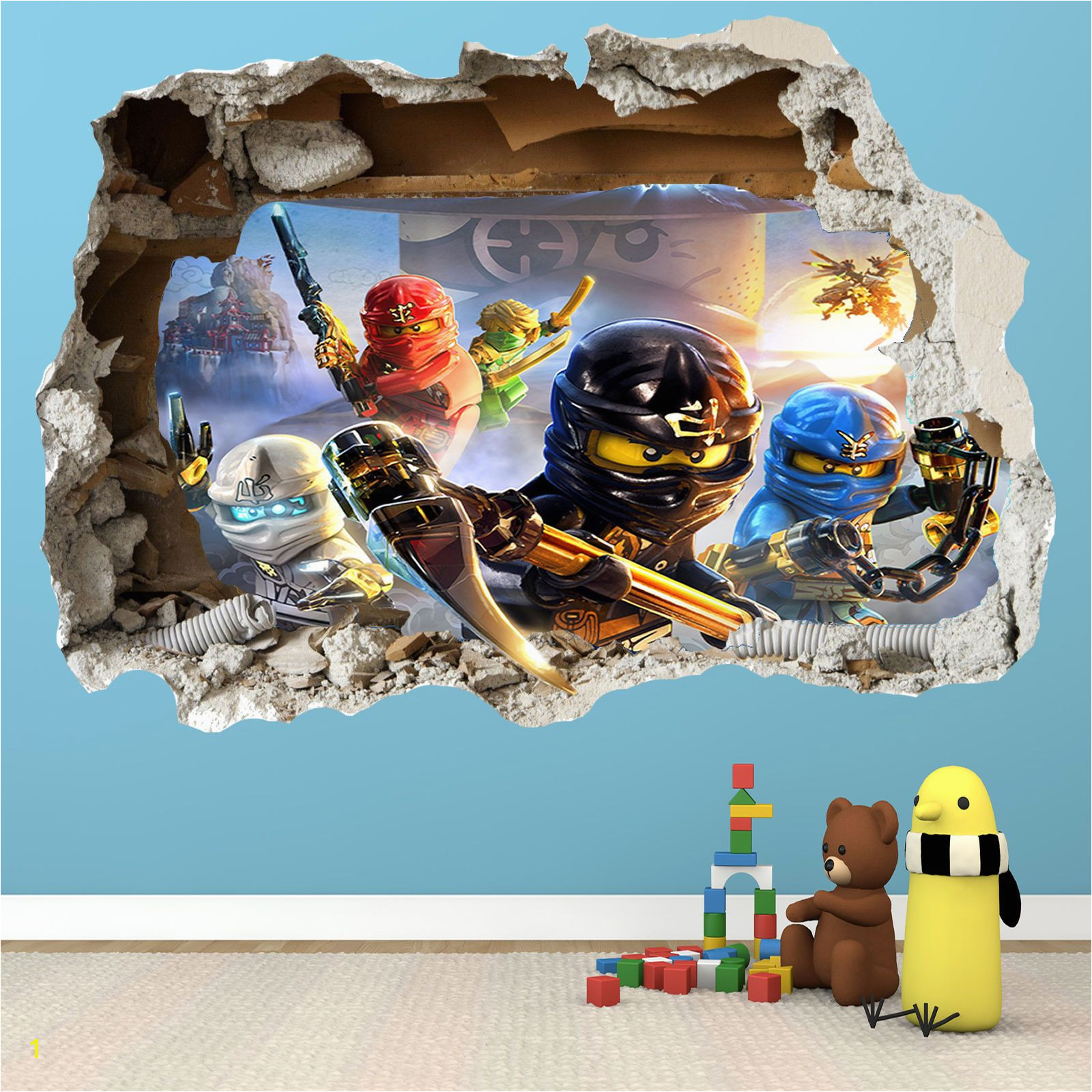 LEGO NINJAGO SMASHED WALL STICKER 3D BEDROOM BOYS GIRLS VINYL WALL ART DECAL