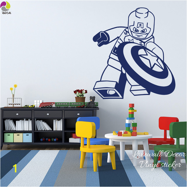 Cartoon Lego Captain America Wall Sticker Boys Room Baby Nursery Lego Superheros Marvel Wall Decal Bedroom Vinyl Home Decor Art