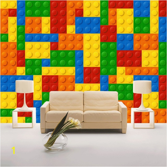 Custom Wall Cloth 3D Colorful Toy Blocks Lego Bricks Wall Covering Wallpaper For Kids Room Backdrop Wall Home Decor Mural