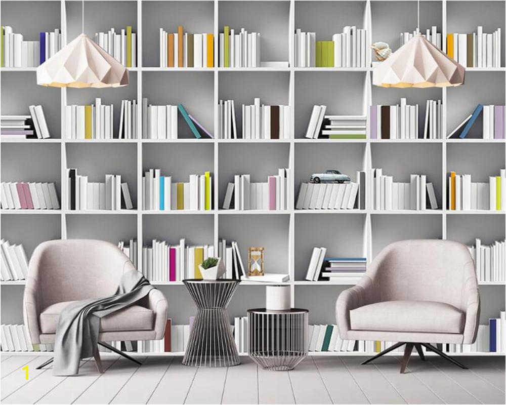 Beibehang Custom Wallpaper mural Book Library Bookcase Magazine Shelf Modern Art Wall Painting Living Room study 3d Wallpaper