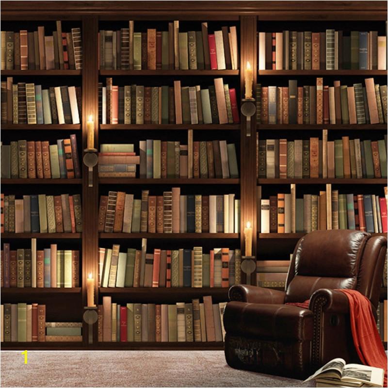 Custom European Retro Bookcase Books Bookshelf 3D Wall Mural Wallpaper Living Room Sofa Background Wallpaper Papel