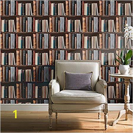 Grandeco Luxury Biblioteque Library Books Pattern Bookshelf Embossed Vinyl Wallpaper VOC 01 01 5 Amazon Kitchen & Home