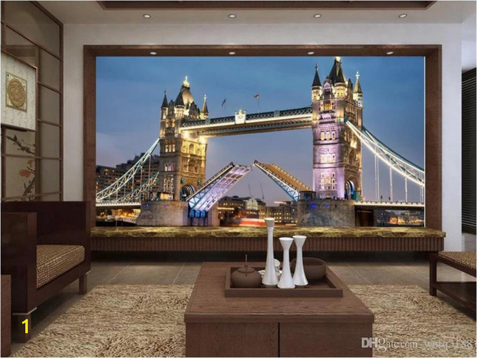 Custom Size 3D Wallpaper Livingroom Mural European Style Tower Bridge 3D Picture Mural Home Decor Creative Hotel Study Wall Paper 3 D Movie Wallpapers