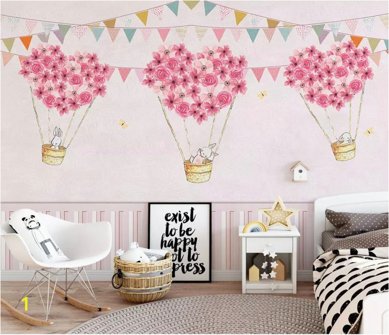 Little Girl Bedroom Wall Murals Nursery Wallpaper for Kids Pink Hot Air Balloon Wall Mural