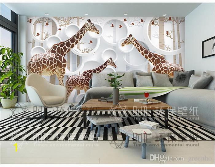 Living Room Wall Murals Uk Unique 3d View Giraffe Wallpaper Cute Animal Wall Mural Art
