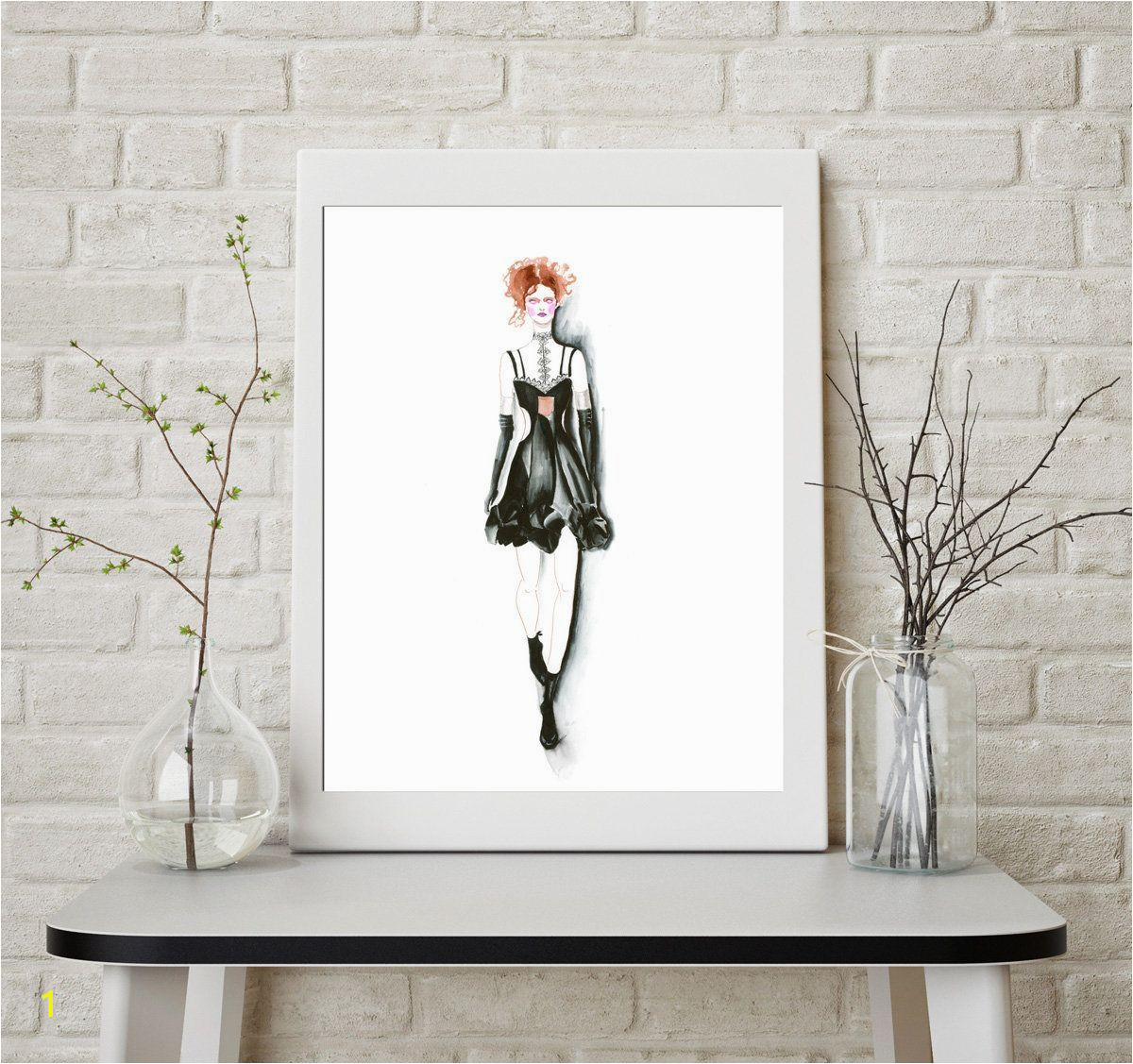 Fashion artwork sketch print art Alexander McQueen Drawing Women illustration Girly dressing room Poster wall office decor girl fashion